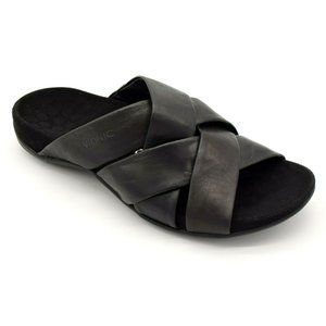 Vionic Womens Juno Leather Sandals  Black NWOB